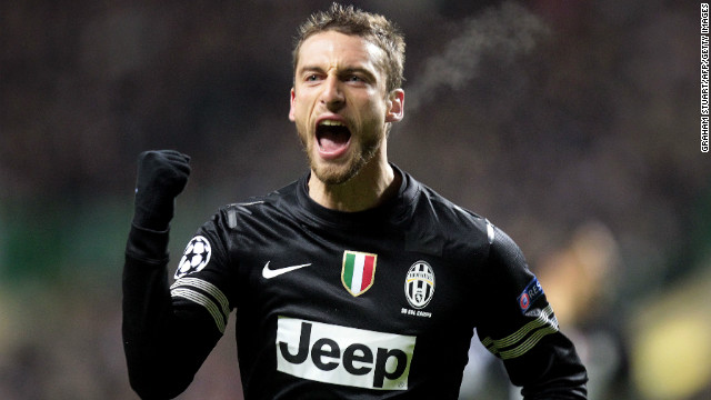 Claudio Marchisio celebrates after firing Juventus into a 2-0 lead with 13 minutes remaining. After enduring a barrage of Celtic pressure, Marchisio rounded off an incisive move to inflict further damage upon the home side.