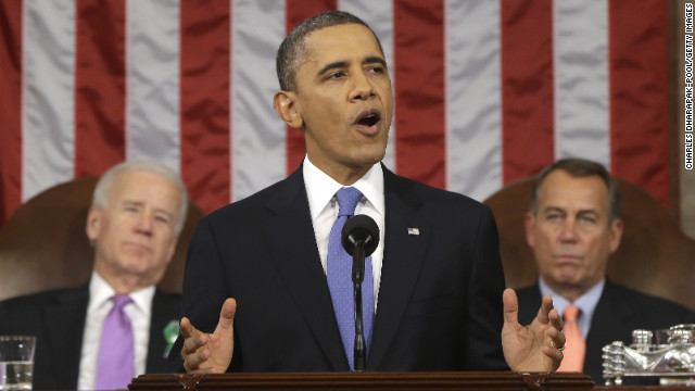 U.S. President Barack Obama, flanked by Vice President Joe Biden and House Speaker John Boehner (R-OH), gestures at State of the Union address on February 12, 2013 in Washington, D.C.