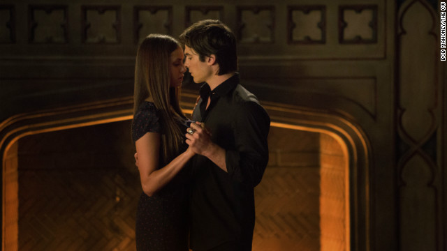 "Innocent Elena (Nina Dobrev) only had eyes for the nocturnally oriented Stefan on ""The Vampire Diaries"" at first, but sparks have flown between her and bad boy Damon (Ian Somerhalder) since then. The two are officially together on the series' fourth season (and have been offscreen for even longer)."