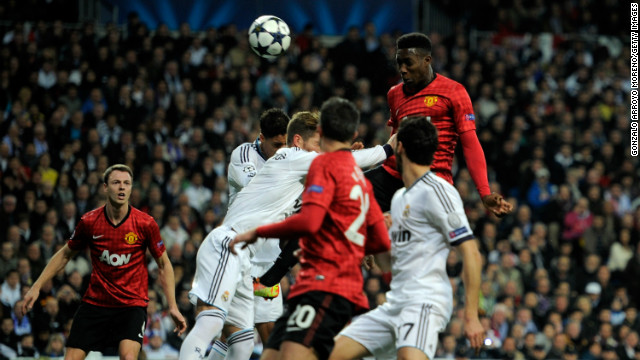 After a rocky opening period in which Real hit the post, United shocked the home crowd by taking a 20th minute lead through Danny Welbeck. The England striker rose highest to meet Wayne Rooney's corner and head the ball inside the far post to spark wild celebrations amongst the visiting supporters. 