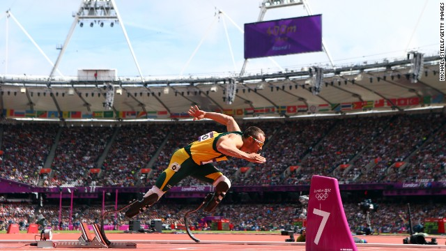 Pistorius of South Africa competes in a Round 1 heat on August 4 at the London 2012 Olympic Games at Olympic Stadium.