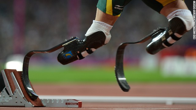 Pistorius competes in a men's 400-meter T44 heat at the London 2012 Paralympic Games on September 7.