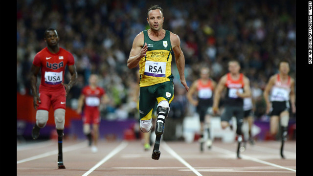 Pistorius runs across the finish line to win the men's 4x100-meter relay T42-46 final at the London 2012 Paralympic Games on September 5.