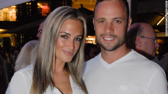 A picture taken on January 26, 2013, shows Pistorius, 26, and his Steenkamp, 29, at Melrose Arch in Johannesburg.