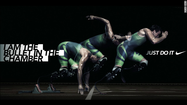 Pistorius appears in an advertisement for Nike with the unfortunate slogan &quot;I am the bullet in the chamber.&quot; The image appeared on Pistorius' offical website, but has now been removed.