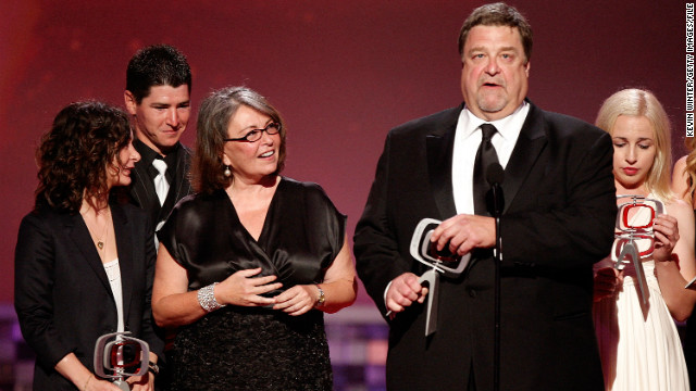 Roseanne and Dan Connor (Roseanne Barr and John Goodman) were unlike any married couple before in sitcom history. Through nine seasons of wisecracks, put-downs and tough times, you knew at the end of the day they loved each other. Here they are with the cast at the 2008 TV Land Awards.