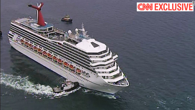 Crippled cruise ship slowly limping toward shore