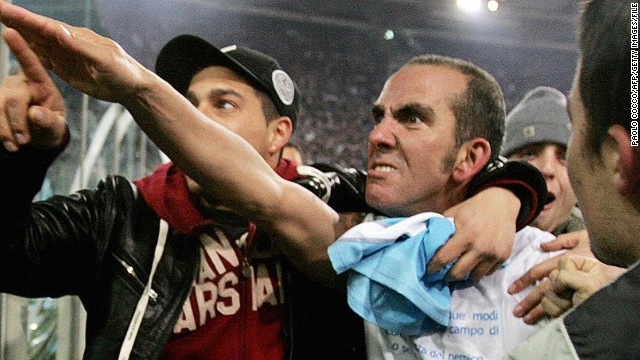 "A former member of Lazio's hardcore right-wing fan group, Di Canio was punished by football authorities for this ""Roman salute"" to the crowd when he played for the Italian club in 2005."
