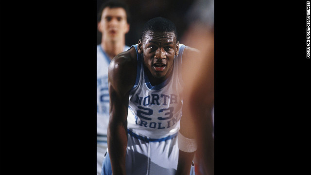 University of North Carolina's Michael Jordan rests for a moment on the court during a game in this photo dated around 1980.