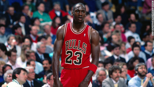 Jordan competes in a game against the Boston Celtics in 1991.