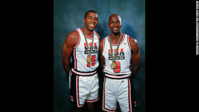 Magic Johnson and Jordan pose for a photo during the 1992 Summer Olympics in Barcelona, Spain.