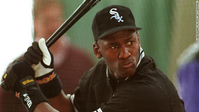 Jordan takes batting practice in February 1994 with the Chicago White Sox in a bid to play for the team.