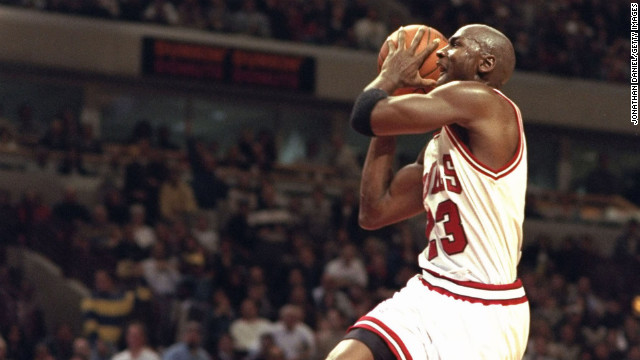 Jordan dunks the ball against the Charlotte Hornets in 1995.