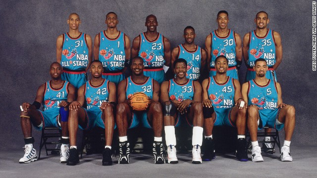 The Eastern Conference All-Stars pose for a portrait prior to the 1996 NBA All-Star Game in 1996. Back row, left to right: Reggie Miller, Anfernee Hardaway, Michael Jordan, Terrell Brandon, Scottie Pippen, Grant Hill. Front row, left to right: Glen Rice, Vin Baker, Shaquille O'Neal, Patrick Ewing, Alonzo Mourning and Juwan Howard. The Eastern Conference All-Stars pose for a portrait prior to the 1996 NBA All-Star Game in 1996.