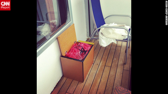 Instagram user Jacob Combs shot this photo of his balcony on the ship with the caption, &quot;Excited for working toilets!&quot;
