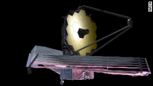 An artist\'s depiction of what the James Webb Space Telescope will look like.