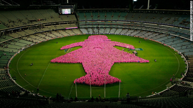 A 'Field of Women' formed to raise funds for Breast Cancer Network Australia at Melbourne Cricket Ground on May 7, 2010.