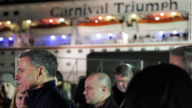 Gerry Cahill, president and CEO of Carnival Cruise Lines, holds a press conference at the Alabama Cruise Terminal after the ship docked February 14.