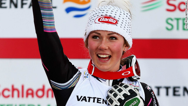 Shiffrin, who won her first World Cup race in December last year, celebrates on the podium after a remarkable victory.