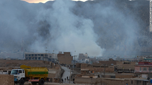 Smoke rises following a bomb explosion in Quetta, Pakistan, on February 16.