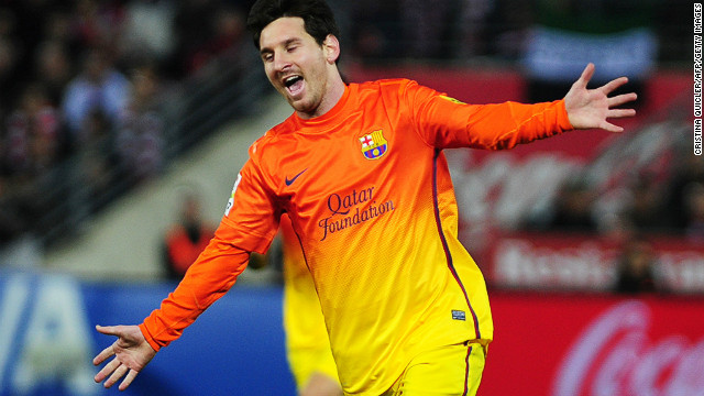 On song, yet again. Lionel Messi scored his 300th goal for Barcelona on Saturday in a 2-1 win over Granada.