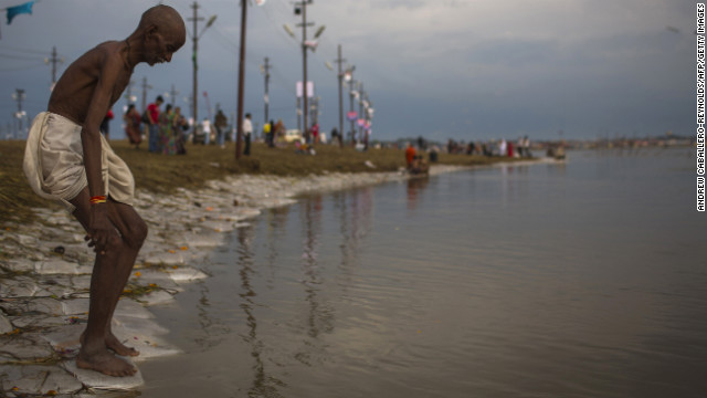 A Hindu man prepares to bathe in the Sangam on February 16.