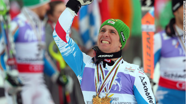 Marcel Hirscher celebrates following his win in the mens' slalom at Schladming.