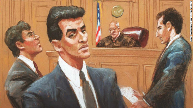 An artist's drawing shows Ramzi Yousef, foreground, facing terrorism charges in Manhattan Federal Court in 1995.