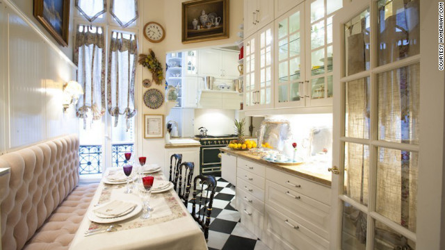 There's space for six to dine in the kitchen. Silver, porcelain and crystal glassware are provided.