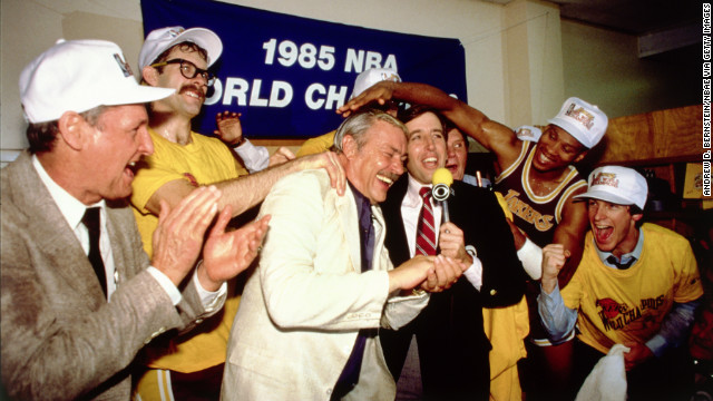 The Lakers took back the title from the Celtics in 1985. During the series, Larry Bird averaged 26 points and nine rebounds to Johnson's 18 points and 15 assists. The series marked the pinnacle of a rivalry that helped boost the NBA's attendance and television ratings. Pictured, Buss and his team celebrate winning the 1985 Finals.