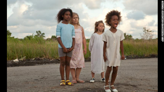 Young Best Actress nominee Quvenzhane Wallis, right, stars in Best Picture nominee &quot;Beasts of the Southern Wild,&quot; set in a fictional marshy area called the Bathtub.