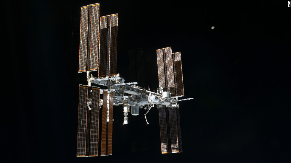 The crew of the space shuttle Atlantis took this picture of the International Space Station after leaving it in July 2011. Atlantis was the last shuttle to visit the station, which was first launched in 1998 and built by a partnership of 16 nations.