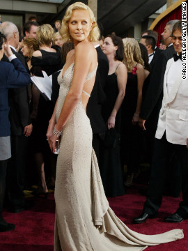 Charlize Theron looked glamorous in the sparkly Gucci gown she wore in 2004, the year she won an Oscar for her performance in &quot;Monster.&quot;