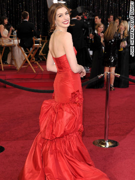The red vintage Valentino gown that Anne Hathaway wore on the red carpet at the 2011 Academy Awards proved to be a fan favorite. The actress donned &lt;a href='http://marquee.blogs.cnn.com/2011/02/28/which-anne-hathaway-oscars-look-is-your-fave/' target='_blank'&gt;at least seven different looks&lt;/a&gt; that night to host the show with James Franco.