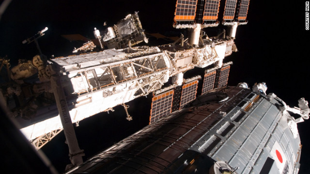 In 2008, Discovery undocks with the ISS after its crew successfully delivers and installs the Japanese-built Kibo lab.