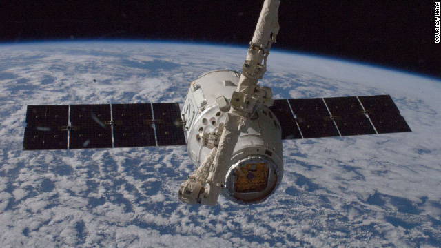 In 2012, the unmanned SpaceX Dragon spacecraft connects to the ISS, the first private spacecraft to successfully reach an orbiting space station.