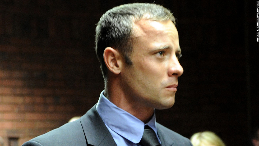 South African Olympic sprinter Oscar Pistorius appears at Magistrate Court in Pretoria, South Africa, on Tuesday, February 19. He's charged with premeditated murder in the death of his girlfriend, model Reeva Steenkamp.