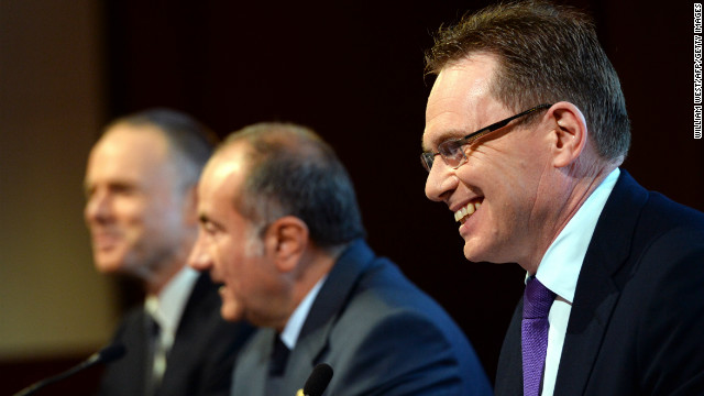 Andrew Mackenzie, right, will replace Marius Kloppers, far left, as BHP Billiton CEO as company chairman Jac Nasser speaks in Sydney on February 20.