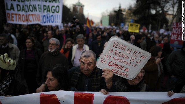 People attend a demonstration called by the organization Platform for Mortgage Victims on February 16 in Madrid.