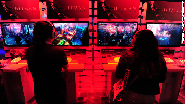 Gaming fans play PlayStation 3's Hitman Absolution at the E3 videogame extravaganza in Los Angeles on June7, 2012. Some 45,700 video game industry professionals, investor analysts, retailers and journalists from over a hundered countries attended the expo.