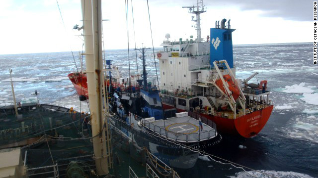 The SS Bob Barker forced its way between the black Nisshin Maru and the red supply vessel on February 20, the ICR said.