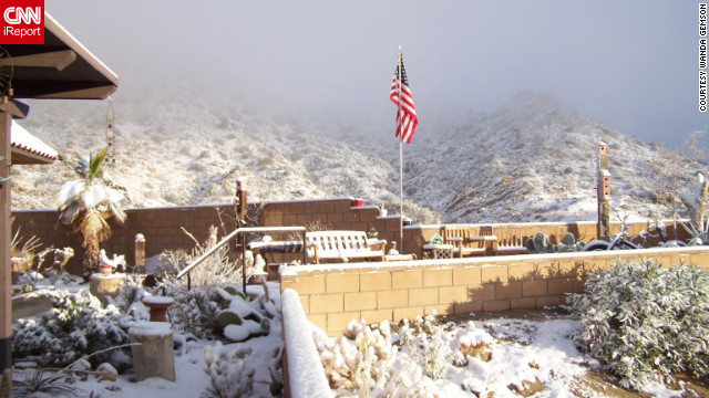 The sun shines on the fresh snow in Yucca Valley on Wednesday.