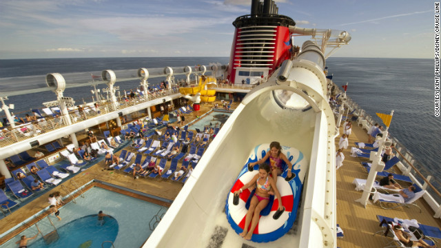 Travelers on the Disney Fantasy and Disney Dream can enjoy the shipboard AquaDuck Water Coaster (shown here on the Dream), which is 765 feet in length and is the height of four decks.