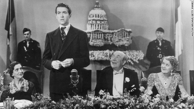 Actor Jimmy Stewart played Jefferson Smith in director Frank Capra's 1939 film &quot;Mr. Smith Goes to Washington,&quot; in which he portrays an honest man thrust into the political limelight. 