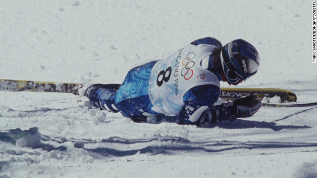 Tomba's bid for gold in the giant slalom at the 1998 Winter Olympics in Nagano was ended by a fall.