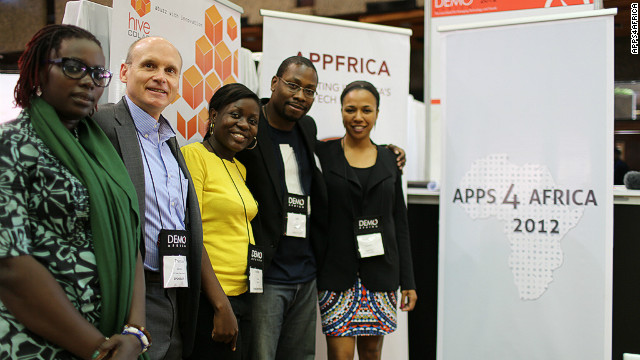 The Apps4Africa team (L-R): Marime Jamme, Thomas Genton, Barbara Birungi, Jon Gosier and Bahiyah Yasmeen Robinson.