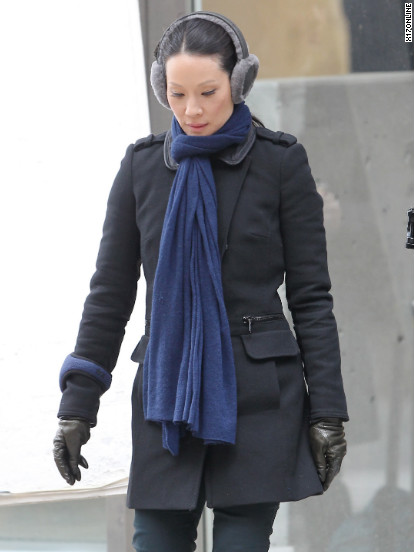 Lucy Liu films Elementary in NYC.