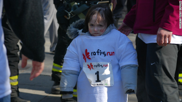 Rafi gets in the spirit and supports EB research at Rafi's run in March.