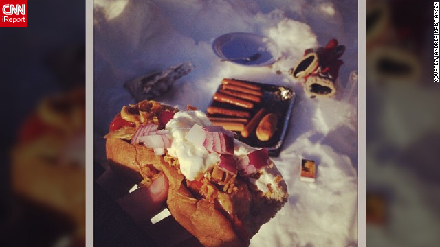 "In Norway with her family, <a href='http://ireport.cnn.com/docs/DOC-931622' target='_blank'>Andrea Kristiansen</a> says hot dogs were a perfect fit for a cold day. ""We would get two hotdogs each, so I sat outside for half an hour with my little Norfolk terrier, Pirjo, and waited for the grill to get warm,"" she said. ""But my dog managed to get one of the sausages, so only one hotdog was left for me."""