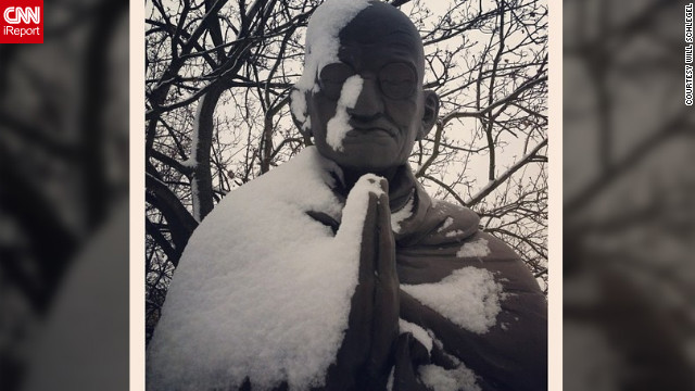 "<a href='http://ireport.cnn.com/docs/DOC-931691' target='_blank'>Will Schlegel</a> took this photo using Instagram at the Philosophers Garden in Budapest, Hungary. ""It had just begun snowing and most of the statues were covered. The statue of Gandhi struck me as beautiful but calm,"" he said. ""He looked so peaceful just how Gandhi had been in life."""